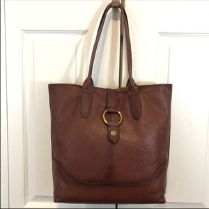 Frye leather extra large ring tote NWT